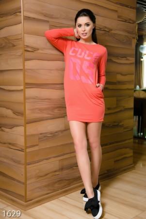 ISSA PLUS: Розовое спортивное платье из двунити с принтом и стразами 1629_розовый - главное фото