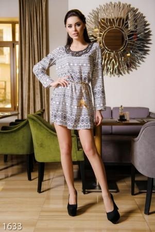 ISSA PLUS: Белое платье из коттона с этническим узором и вышивкой бисером 1633_белый - главное фото