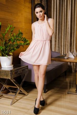 ISSA PLUS: Розовое шифоновое платье всборку  с вышивкой на плечах 1631_розовый - главное фото