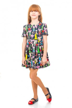 Kids Couture: Платье 16-17-1 тем.синие.кошки 1617132106 - главное фото