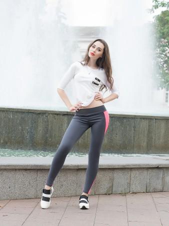 ISSA PLUS: Серые облегающие спортивные брюки с розовой вставкой 529_серый/розовый - главное фото