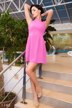 ISSA PLUS: Сиреневое платье из крепшифона с присобранной юбкой  1806_фиолетовый - главное фото