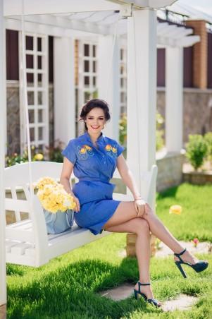 """Champagne Sparkles: Платье рубашка с вышивкой """"Королевские Хризантемы"""" 16206 - главное фото"""