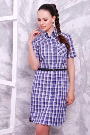 MarSe: Платье-рубашка 1604 бело-сиреневый - главное фото
