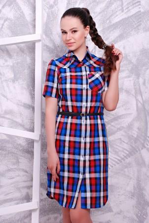 MarSe: Платье-рубашка 1604 сине-красный - главное фото