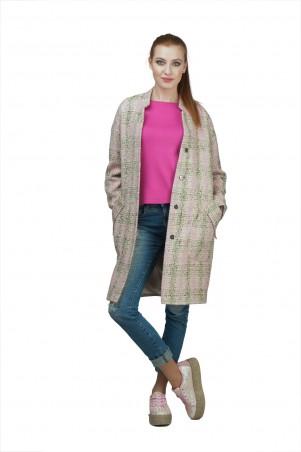 Lilo: Нежно-розовое пальто в клетку со спущенным рукавом 02028 - главное фото