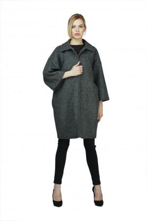 Lilo: Серое шерстяное пальто «бочонок» с клешными рукавами 02026 - главное фото
