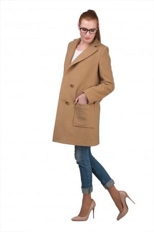 Lilo: Бежевое пальто до колен со шлицей 02021 - главное фото