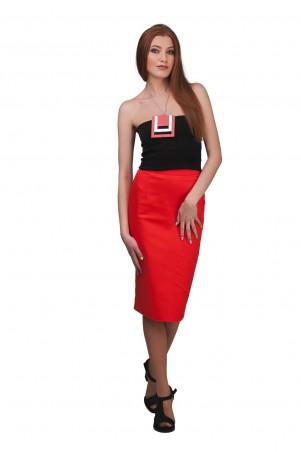 Lilo: Красная юбка-карандаш из коттона 01915 - главное фото