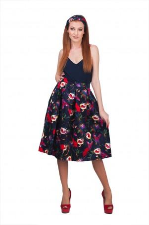 Lilo: Темно-синяя юбка миди в цветочный принт 01906 - главное фото