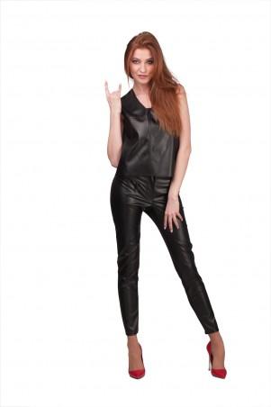 Lilo: Комбинированные укороченные черные брюки из экокожи 01998 - главное фото