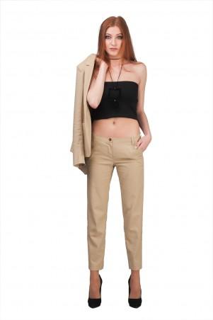 Lilo: Укороченные бежевые брюки из льна 01953 - главное фото