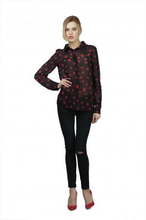 Lilo: Черная шифоновая блуза в принт красные губы 02007 - главное фото