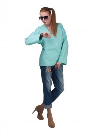 Lilo: Бирюзовая рубашка из льна свободного кроя 01977 - главное фото