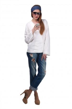 Lilo: Белая рубашка из льна свободного кроя 01975 - главное фото