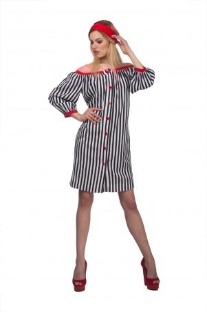 """Lilo: Короткое платье """"барышня-крестьянка"""" в полоску 01982 - главное фото"""