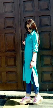 Lilo: Голубая рубашка-платье миди из льна 01979 - главное фото