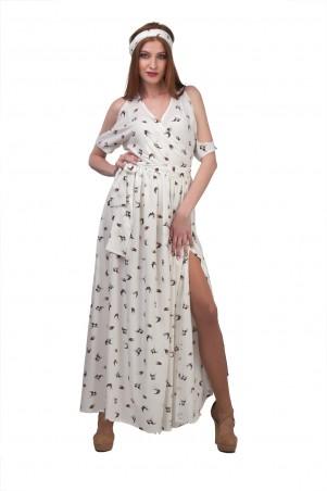 Lilo: Длинное платье с вырезами на плечах принт ласточки 01970 - главное фото