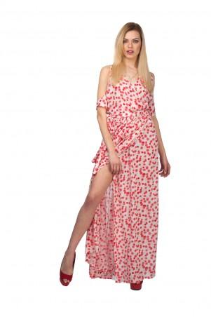 Lilo: Длинное платье в красные горохи с вырезами на плечах 01968 - главное фото
