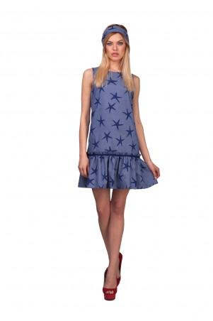 Lilo: Короткое джинсовое платье в звезды 01937 - главное фото