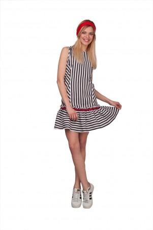 Lilo: Короткое платье в полоску с рюшей 01931 - главное фото