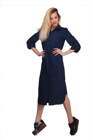 Lilo: Темно-синяя рубашка-платье длиной миди 01922 - главное фото