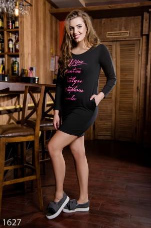 ISSA PLUS: Черное полуоблегающее платье большого размера с розовым принтом 1627batal_черный - главное фото
