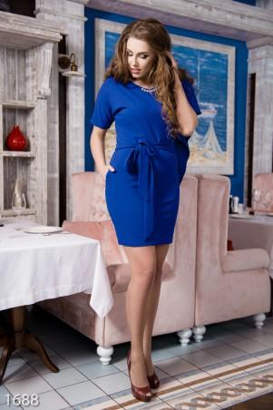 ISSA PLUS: Ярко-синее вечернее асимметричное платье из фактурного трикотажа 1688_электрик - главное фото