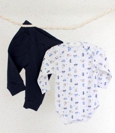 YaSan: Боди машинки + темно-синие брюки 21105161 - главное фото