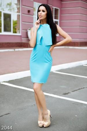 ISSA PLUS: Бирюзовое узкое платье с объемной фальш-накидкой сверху 2044_бирюзовый - главное фото
