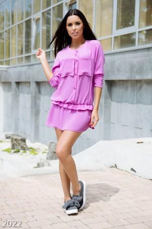 ISSA PLUS: Сиреневое платье-рубашка свободного кроя на пуговках 2022_сиреневый - главное фото