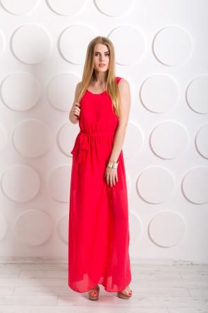 """Me&Me: Длинное платье из шифона """"Дайкири"""" коралловое 7201 - главное фото"""