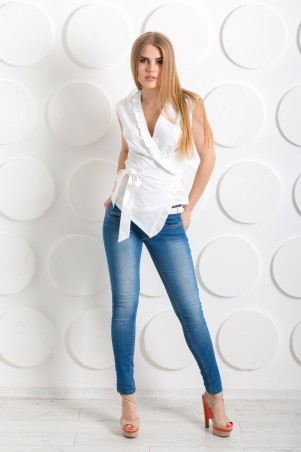 "InRed: Блуза с запахом ""Серсея"" белая 7237 - главное фото"