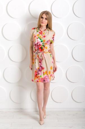 """InRed: Платье-рубашка """"Этно"""" бежевое с розами 7206 - главное фото"""