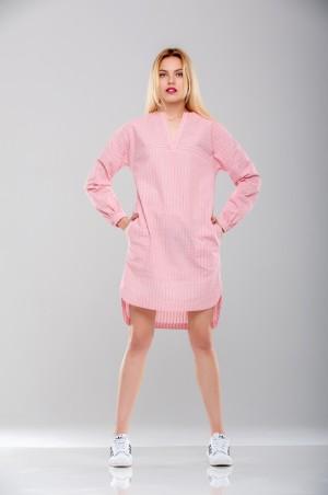 Ляпота: Платье-рубашка красная полоска 1017 - главное фото