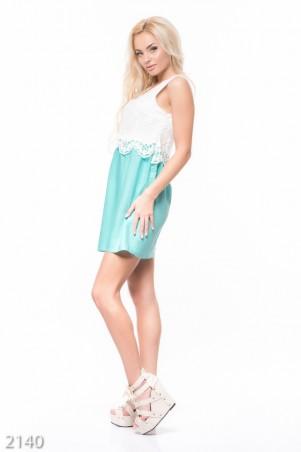 ISSA PLUS: Комбинированное платье с гипюровым верхом и мятной юбкой-тюльпан 2140_мятный - главное фото