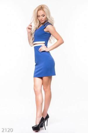 ISSA PLUS: Синее платье без рукавов с белой отделкой и вставкой из черной сетки 2120_синий - главное фото