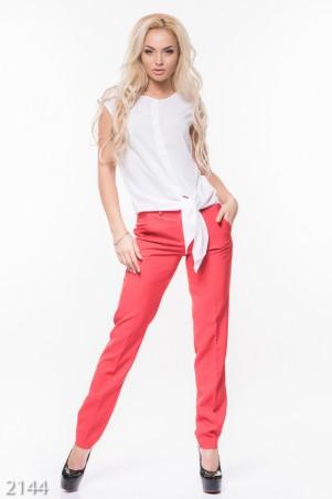 ISSA PLUS: Красные классические женские брюки со стрелками 2144_красный - главное фото