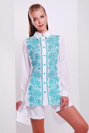 Glem: Блуза Узор бирюза  Джована д/р - главное фото