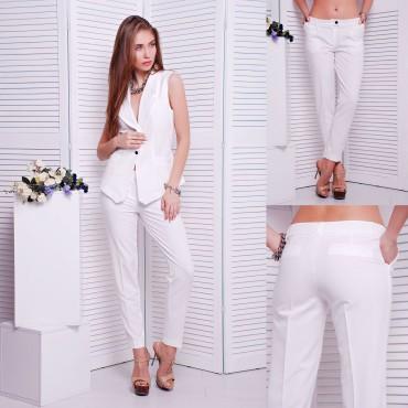 TessDress: Классические женские брюки «Stels» white 2552 - главное фото