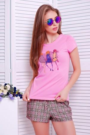 TessDress: Стильная футболка «Girls» pink 5130 - главное фото
