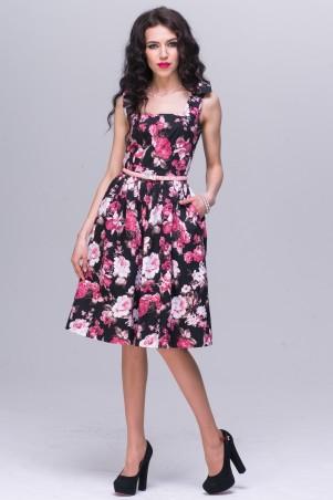 Jet: Платье ПОЛИНА сатин Розы на черном 1085-5426 - главное фото