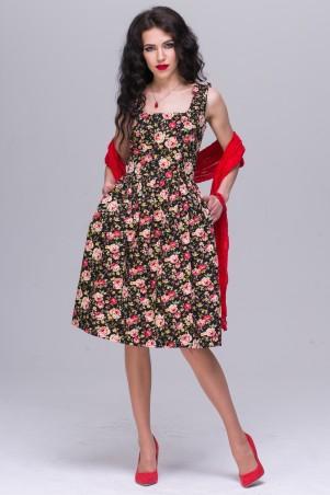 Jet: Платье ПОЛИНА поплин Розочка на черном 1085-5425 - главное фото