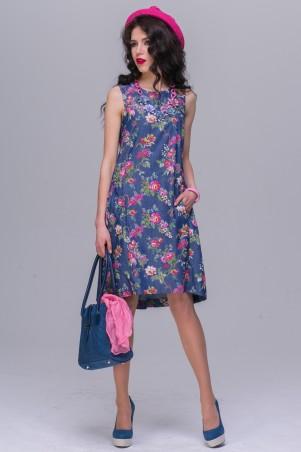 Jet: Платье ДАША джинс Малиновые цветы 1148-5405 - главное фото